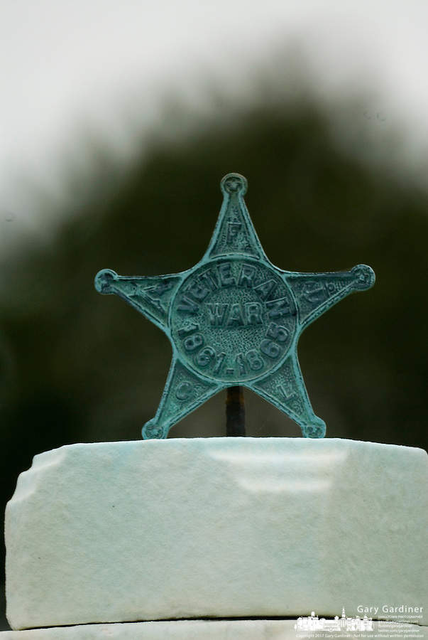 A Civil War veteran's grave marker in an Ohio cemetery.<br />