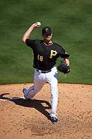 Pittsburgh Pirates relief pitcher Jared Hughes (48) delivers a pitch during a Spring Training game against the Boston Red Sox on March 9, 2016 at McKechnie Field in Bradenton, Florida.  Boston defeated Pittsburgh 6-2.  (Mike Janes/Four Seam Images)
