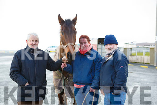 "Enjoying the Ballyheigue Races on Wednesday last are l to r: Dick Foley with ""Top of the Morning"", Aoife Foley & Patrick O'Sullivan all from Athea Co. Limerick."