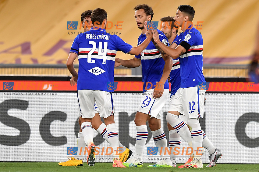 Manolo Gabbiadini of UC Sampdoria (C) celebrates with team mates after scoring the goal of 0-1 during the Serie A football match between AS Roma and UC Sampdoria at Olimpico stadium in Rome ( Italy ), June 24th, 2020. Play resumes behind closed doors following the outbreak of the coronavirus disease. AS Roma won 2-1 over UC Sampdoria. <br /> Photo Andrea Staccioli / Insidefoto