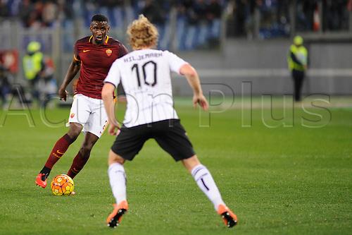 21.02.2016. Stadium Olimpico, Rome, Italy.  Serie A football league. AS Roma versus Palermo. RUDIGER ANTONIO covered by Oscar Hiljemark