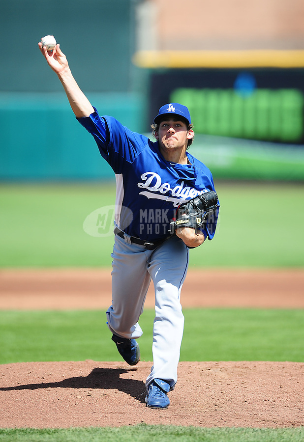 Mar. 28, 2012; Scottsdale, AZ, USA; Los Angeles Dodgers pitcher Nathan Eovaldi pitches in the first inning against the San Francisco Giants at Scottsdale Stadium.  Mandatory Credit: Mark J. Rebilas-