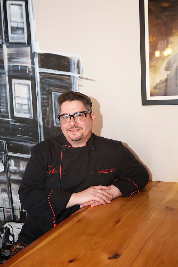 Jersey City, NJ - January 14, 2016: Chef Lynn Wheeler at Third and Vine, a Cheese and Wine Tavern in the Historic Downtown District. CREDIT: Clay Williams for Edible Jersey.<br /> <br /> <br /> &copy; Clay Williams / claywilliamsphoto.com