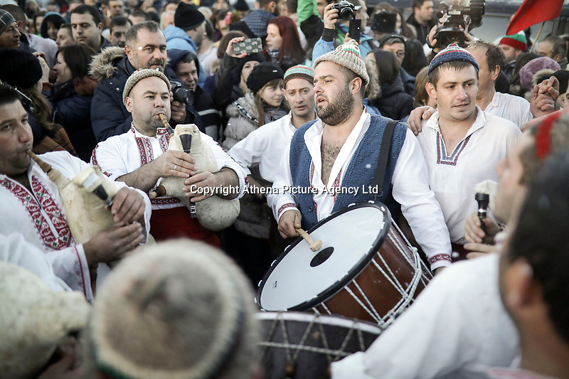 "Men perform the traditional Bulgarian ""Horo"" dance, an Orthodoc Church tradition, in the icy waters of the Tundzha River in the village of Kalofer, 200 km east of Sofia, as part of the Epiphany Day celebrations in Bulgaria. Saturday 06 January 2018"