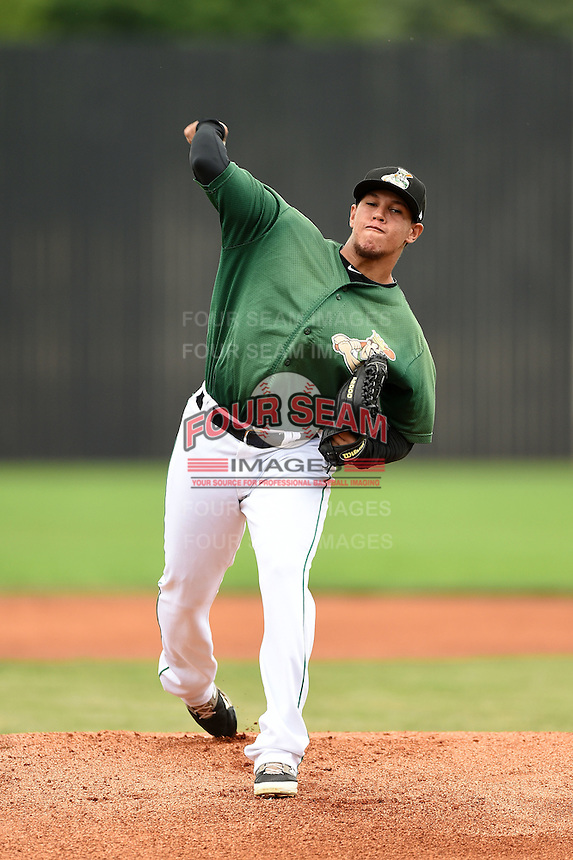 Clinton LumberKings pitcher Carlos Misell (34) delivers a pitch during a game against the Beloit Snappers on August 17, 2014 at Ashford University Field in Clinton, Iowa.  Clinton defeated Beloit 4-3.  (Mike Janes/Four Seam Images)