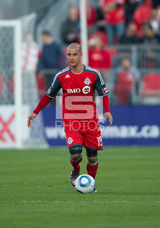 07 May 2011: Toronto FC defender Mikael Yourassowsky #19 in action during an MLS game between the Houston Dynamo and the Toronto FC at BMO Field in Toronto, Ontario..Toronto FC won 2-1.