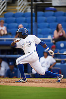 Dunedin Blue Jays outfielder Anthony Alford (10) at bat during the first game of a doubleheader against the Palm Beach Cardinals on July 31, 2015 at Florida Auto Exchange Stadium in Dunedin, Florida.  Dunedin defeated Palm Beach 7-0.  (Mike Janes/Four Seam Images)