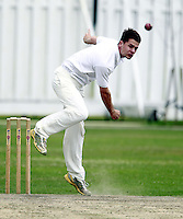Matt Rosson bowls for North London during the Middlesex County Cricket League Division Three game between North London and Wembley at Park Road, Crouch End on Sat Aug 2, 2014