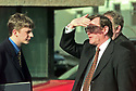 Archive Picture. Ulster Unionist leader David Trimble chats with his personal assistant Daivd Kerr (left) in the car park of Castle Buildings, Stormont, Friday April 10, 1998, Belfast Northern Ireland. The an agreement is due on the future of Northern Ireland is expected soon. Photo/Paul McErlane Photography