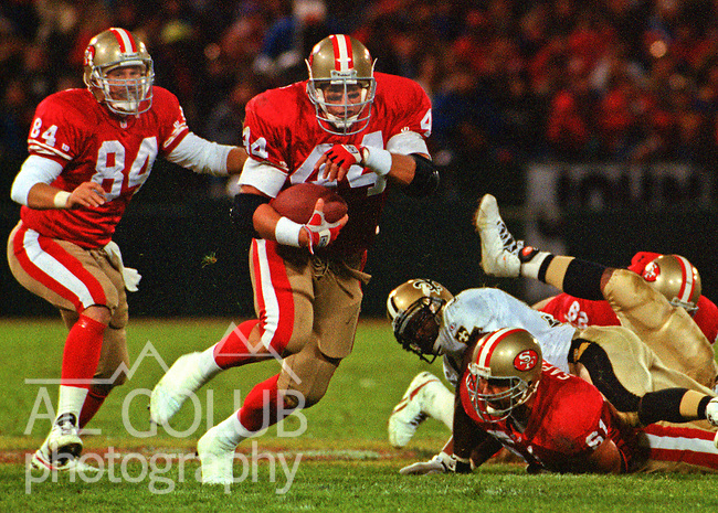 San Francisco 49ers vs. New Orleans Saints at Candlestick Park Monday, November 22, 1993.  49ers beat Saints 42-7.  San Francisco 49ers running back Tom Rathman (44).