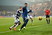 1st November 2019; Dens Park, Dundee, Scotland; Scottish Championship Football, Dundee Football Club versus Greenock Morton; Declan McDaid of Dundee and Chris Millar of Greenock Morton  - Editorial Use