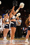 March 6, 2015; Las Vegas, NV, USA; Loyola Marymount Lions cheerleader performs against the Santa Clara Broncos during the second half of the WCC Basketball Championships at Orleans Arena.