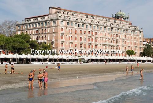 Venice Italy 2009.Venice Italy Venice Lido the public beach. Hotel Excelsior