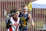 Santa Barbara, CA 02/19/11 - Casey Franklin (San Diego State #4) and Katie Weisenberger (UC Berkeley #22) in action during the San Diego State - Cal Berkeley game at the 2011 Santa Barbara Shootout.