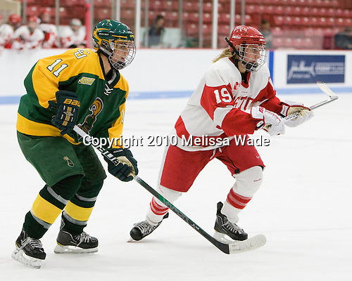 Vanessa Plante (Clarkson - 11), Jenelle Kohanchuk (BU - 19) - The Boston University Terriers defeated the visiting Clarkson University Golden Knights 3-2 on Saturday, October 23, 2010, at Walter Brown Arena in Boston, Massachusetts.