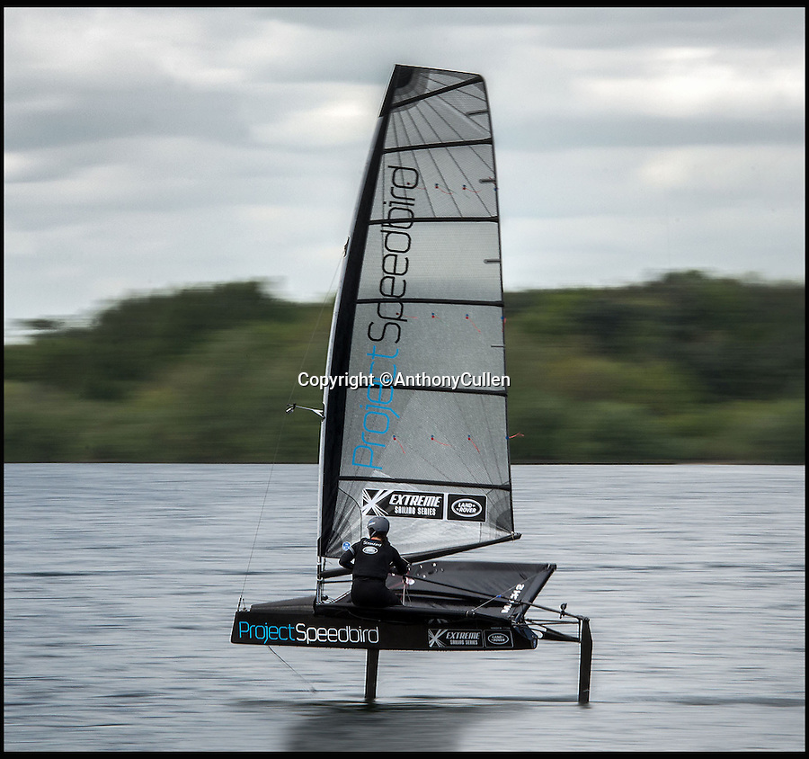 BNPS.co.uk (01202 558833)<br /> Pic: Anthony Cullen/BNPS<br /> <br /> Hannah practicing on a scaled down version of her new boat.<br /> <br /> An adventurer is aiming to sail into the record books as the fastest woman on the water in a revolutionary boat so light she can carry it on her shoulder.<br /> <br /> Hannah White's cutting edge dinghy might be 18ft long but because it is built from space-age materials it weighs just 1.5 stones - the same as a toddler.<br /> <br /> Thanks to a state-of-the-art hydrofoil the specially designed vessel will 'hover' 3ft above the water with next to no drag, allowing it to hit speeds of almost 50mph.<br /> <br /> The current record stands at 34.74 knots - or 40mph - set by British windsurfer Zara Davis in 2006 and in order to break it White, 31, will have to average faster over a mile-long course.<br /> <br /> The boat, called Speedbird, was designed by former Royal Navy engineer David Chisholm, an expert in composites like carbon fibre, and built in a shed in Suffolk.
