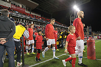 TORONTO, ON - OCTOBER 15: Josh Sargent #19, Aaron Long #23 and Michael Bradley #4 walk out during a game between Canada and USMNT at BMO Field on October 15, 2019 in Toronto, Canada.