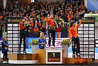 SCHAATSEN: HEERENVEEN: 07-01-2017, IJsstadion Thialf, Podium EC Allround, Martina Sábliková (CZE), Ireen Wüst (NED), Antoinette de Jong (NED), ©foto Martin de Jong