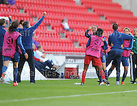 The French subs, coaches and trainers celebrate their sides first goal during the UEFA Womens U19 Final at Parc y Scarlets Saturday 31st August 2013. All images are the copyright of Jeff Thomas Photography-www.jaypics.photoshelter.com-07837 386244-Any use of images must be authorised by the copyright owner.