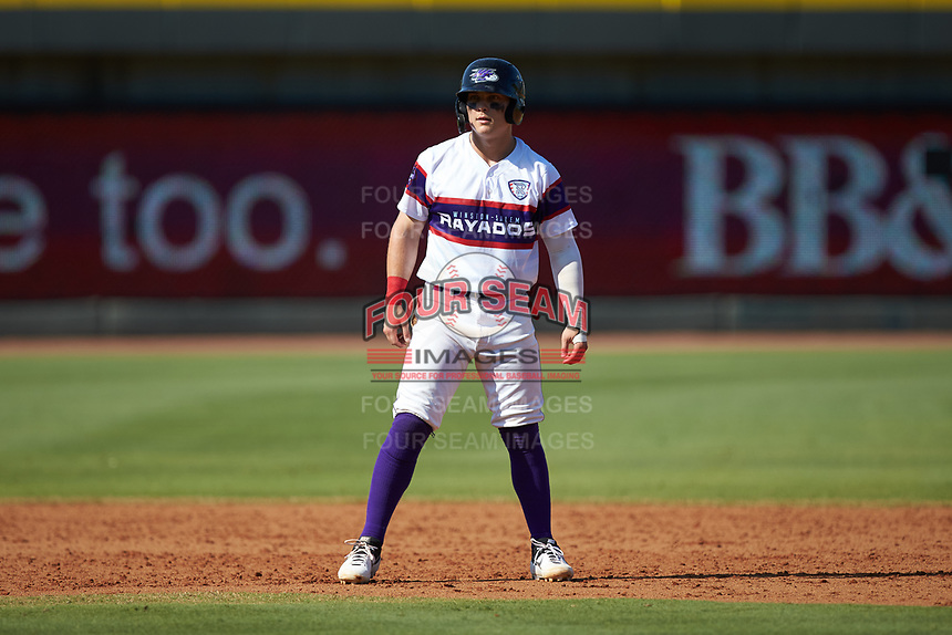Steele Walker (6) of the Winston-Salem Rayados takes his lead off of second base against the Lynchburg Hillcats at BB&T Ballpark on June 23, 2019 in Winston-Salem, North Carolina. The Hillcats defeated the Rayados 12-9 in 11 innings. (Brian Westerholt/Four Seam Images)