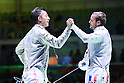 (L to R) <br /> Kenta Tokunan (JPN), <br /> Vincent Anstett (FRA), <br /> AUGUST 10, 2016 - Fencing : <br /> Men's Sabre Individual Round of 32 <br /> at Carioca Arena 3 <br /> during the Rio 2016 Olympic Games in Rio de Janeiro, Brazil. <br /> (Photo by YUTAKA/AFLO SPORT)