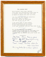 BNPS.co.uk (01202 558833)<br /> Pic: Bonhams/BNPS<br /> <br /> Border Song...Est £40,000<br /> <br /> The original lyrics to Elton John's most famous songs are being sold in a million pound sale at Bonhams.<br /> <br /> They are being sold by his songwriting collaborator Bernie Taupin's ex wife Maxine Taupin, who was the inspiration for the song 'Tiny Dancer'.<br /> <br /> The auction includes the lyrics for the classic tracks 'Your Song', 'Goodbye Yellow Brick Road' and 'Candle in the Wind'.<br /> <br /> Its opening line was originally 'Goodbye Marilyn Monroe' but has been crossed out, with her real name 'Norma Jean' put in its place.<br /> <br /> Also going under the hammer are the lyrics for 'Bennie and the Jets', 'Saturday's Alright for Fighting' and 'The Border Song', which was a rare example of Elton and Taupin collaborating on the words.