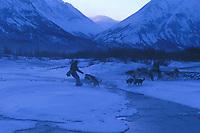 E Iten Mushing by Open Water Near Rohn Iditarod 99 AK Morning