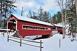 DECEMBER SNOW  TWIN COVERED BRIDGES FORKS PA. STEVE BINNICK ON HUNTINGTON CREEK