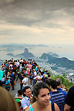 BRAZIL, Rio de Janiero, groups of people gather at the Cristo Redentor (statue)