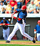 15 March 2009: Washington Nationals' shortstop Cristian Guzman at bat during a Spring Training game against the Detroit Tigers at Space Coast Stadium in Viera, Florida. The Tigers shut out the Nationals 3-0 in the Grapefruit League matchup. Mandatory Photo Credit: Ed Wolfstein Photo