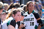 21 MAY 2016:  Julie Pena (18) of Humboldt State University stares at her opponent the University of North Alabama during the Division II Women's Softball Championship held at the Regency Athletic Complex on the Metro State University campus in Denver, CO.  North Alabama defeated Humboldt State 4-1 to win the national title.  Jamie Schwaberow/NCAA Photos