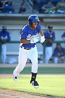 Jacob Scavuzzo (6) of the Rancho Cucamonga Quakes runs to first base during a game against the San Jose Giants at LoanMart Field on August 30, 2015 in Rancho Cucamonga, California. Rancho Cucamonga defeated San Jose, 8-3. (Larry Goren/Four Seam Images)