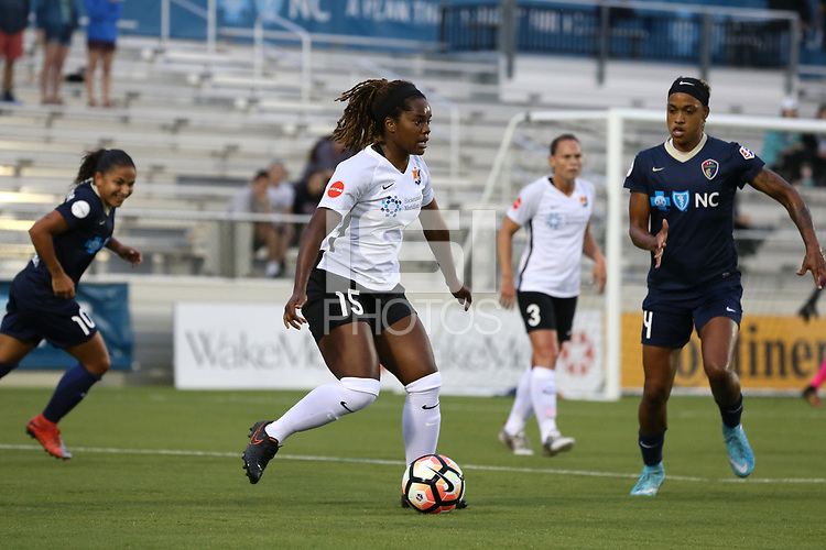 Cary, North Carolina  - Wednesday May 24, 2017: Kayla Mills and Jessica McDonald during a regular season National Women's Soccer League (NWSL) match between the North Carolina Courage and the Sky Blue FC at Sahlen's Stadium at WakeMed Soccer Park. The Courage won the game 2-0.