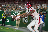 NWA Democrat-Gazette/BEN GOFF @NWABENGOFF<br /> Jordan Jones, Arkansas wide receiver, reacts after a catch was ruled incomplete outside the endzone in the 3rd quarter vs Colorado State Saturday, Sept. 8, 2018, at Canvas Stadium in Fort Collins, Colo.