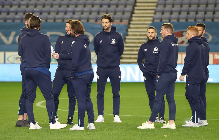 Blackburn Rovers inspect the pitch<br /> <br /> Photographer Rachel Holborn/CameraSport<br /> <br /> The EFL Sky Bet Championship - Wigan Athletic v Blackburn Rovers - Wednesday 28th November 2018 - DW Stadium - Wigan<br /> <br /> World Copyright © 2018 CameraSport. All rights reserved. 43 Linden Ave. Countesthorpe. Leicester. England. LE8 5PG - Tel: +44 (0) 116 277 4147 - admin@camerasport.com - www.camerasport.com