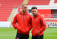Alex Cairns of Fleetwood Town and Lewis Coyle of Fleetwood Town before the Sky Bet League 1 match between Rotherham United and Fleetwood Town at the New York Stadium, Rotherham, England on 7 April 2018. Photo by Leila Coker.