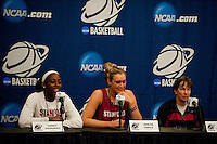 NORFOLK, VA--Chiney Ogwumike, Joslyn Tinkle and Head Coach Tara Van derVeer field questions from the media at the Ted Constant Convocation Center at Old Dominion University in Norfolk, VA for the first and second rounds of the 2012 NCAA tournament.