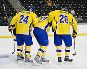Tim Erixon (Sweden - 24), Calle Klingberg (Sweden - 17), Magnus Svensson Pääjärvi (Sweden - 20) - Sweden defeated the Czech Republic 4-2 at the Urban Plains Center in Fargo, North Dakota, on Saturday, April 18, 2009, in their final match of the 2009 World Under 18 Championship.