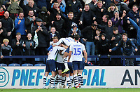 Preston North End's Tom Barkhuizen is mobbed by team-mates as he celebrates scoring his side's third goal <br /> <br /> Photographer Rich Linley/CameraSport<br /> <br /> The EFL Sky Bet Championship - Preston North End v Blackburn Rovers - Saturday 26th October 2019 - Deepdale Stadium - Preston<br /> <br /> World Copyright © 2019 CameraSport. All rights reserved. 43 Linden Ave. Countesthorpe. Leicester. England. LE8 5PG - Tel: +44 (0) 116 277 4147 - admin@camerasport.com - www.camerasport.com