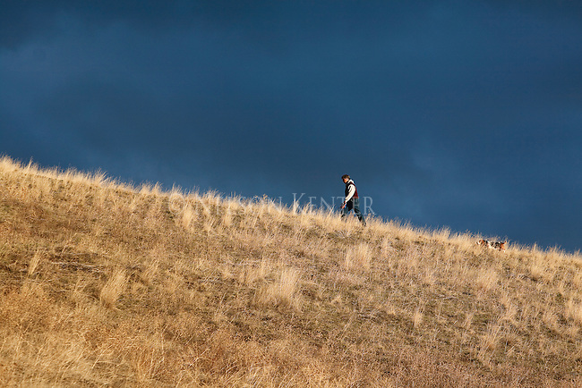 A Hiker with his dog on Mount Sentinel trails in Missoula, Montana
