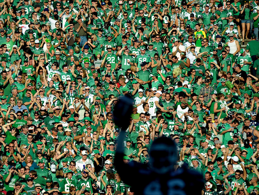 Saskatchewan Roughrider fans erupt after linebacker Kye Stewart recovers a fumble during CFL action against the Toronto Argonauts in Regina, Saturday October 9, 2010. THE CANADIAN PRESS/Mark Taylor.