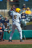 Victor Scott (6) of the West Virginia Mountaineers at bat against the Illinois Fighting Illini at TicketReturn.com Field at Pelicans Ballpark on February 23, 2020 in Myrtle Beach, South Carolina. The Fighting Illini defeated the Mountaineers 2-1.  (Brian Westerholt/Four Seam Images)