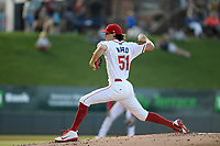 Starting pitcher Thaddeus Ward (51) of the Greenville Drive struck out seven in four innings of a game against the Kannapolis Intimidators on Tuesday, June 11, 2019, at Fluor Field at the West End in Greenville, South Carolina. Kannapolis won, 5-4. (Tom Priddy/Four Seam Images)
