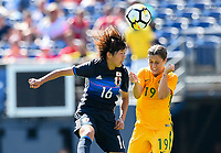 San Diego, CA - Sunday July 30, 2017: Rin Sumida, Katrina Gorry during a 2017 Tournament of Nations match between the women's national teams of the Australia (AUS) and Japan (JAP) at Qualcomm Stadium.