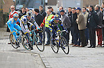 The early breakaway group featuring Anders Lund (Saxo-Tinkoff), Eloy Teruel (Movistar), Stefan van Dijk (Accent Jobs-Wanty), Wouter Mol (Vacansoleil-DCM) and Ruslan Tleubayev (Astana) pass over the cobbles of Paddestraat in Zottegem  during the 56th edition of the E3 Harelbeke, Belgium, 22nd  March 2013 (Photo by Eoin Clarke 2013)