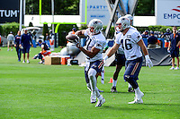 Wednesday, August 17, 2016: New England Patriots tight end Clay Harbor (81) makes a catch at a joint training camp session between the Chicago Bears and the New England Patriots held at Gillette Stadium in Foxborough Massachusetts. Eric Canha/CSM