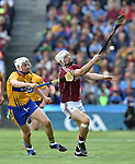 Conor Cleary of Clare in action against Joe Canning of Galway during their All-Ireland semi-final at Croke Park. Photograph by John Kelly.