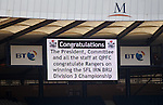 A nice touch from Queem's Park who put up a message of congratulations for Rangers at kick off time