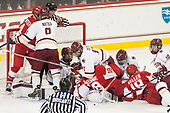Jesper Mattila (BC - 8), Casey Fitzgerald (BC - 5), Joe Woll (BC - 31), Jordan Greenway (BU - 18), Austin Cangelosi (BC - 9), David Cotton (BC - 17), Clayton Keller (BU - 19), Christopher Brown (BC - 10) - The visiting Boston University Terriers defeated the Boston College Eagles 3-0 on Monday, January 16, 2017, at Kelley Rink in Conte Forum in Chestnut Hill, Massachusetts.