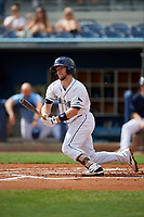 Charlotte Stone Crabs Zacrey Law (6) bats during a Florida State League game against the Palm Beach Cardinals on April 14, 2019 at Charlotte Sports Park in Port Charlotte, Florida.  Palm Beach defeated Charlotte 5-3.  (Mike Janes/Four Seam Images)